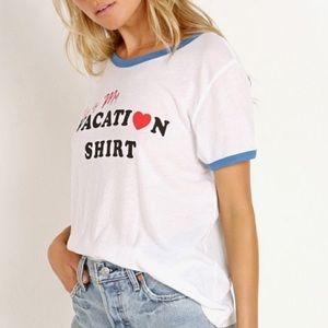 Wildfox Graphic Tee Shirt White/Blue Size Small